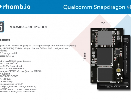 Rhomb.io's S400 Motherboard compatible with the Qualcomm Snapdragon 410e Core processor